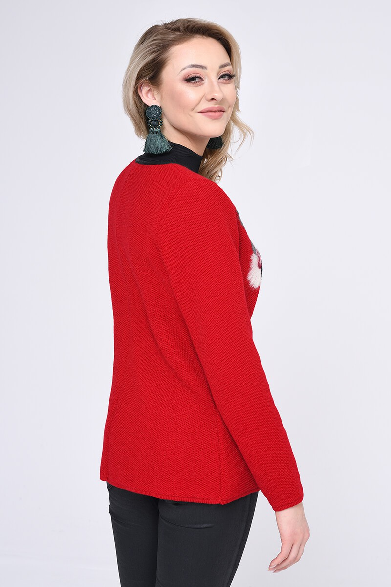 WOMENS KNIT SWEATER, RED
