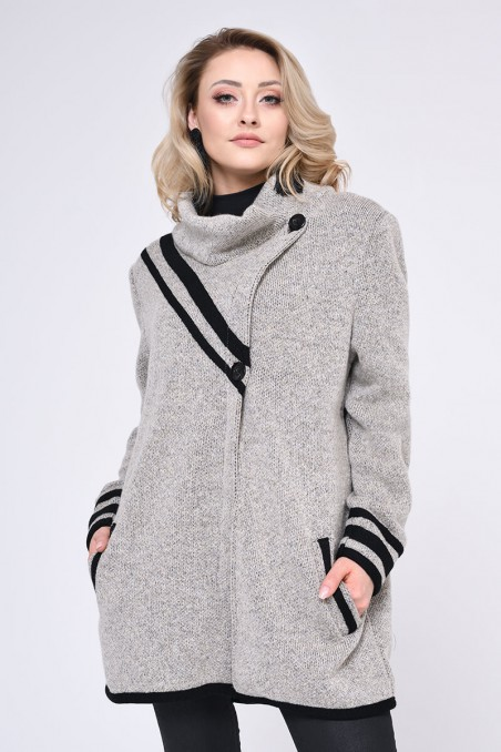 WOMENS KNIT COAT, BEIGE