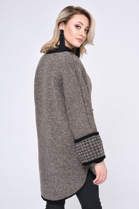 WOMENS KNIT COAT, BROWN