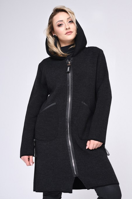 WOMENS KNIT COAT, BLACK
