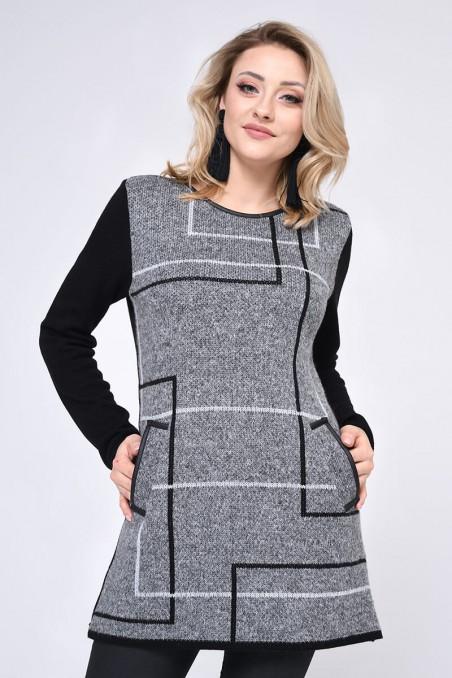Długi sweter w geometryczne wzory, szary wzorzysty