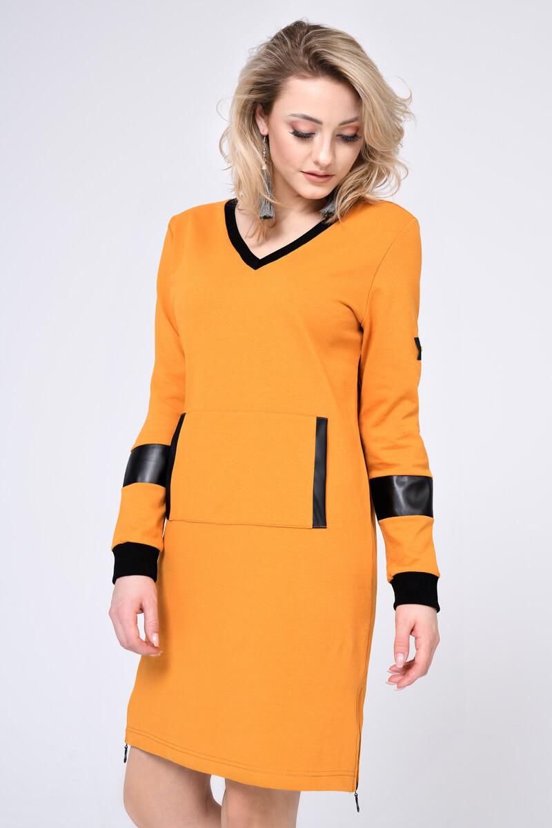 WOMENS KNIT DRESS, MUSTARD