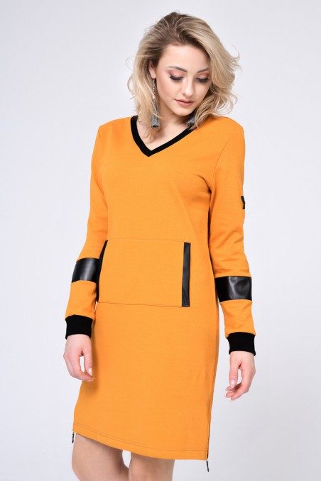 WOMENS KNIT DRESS, MUSTARD