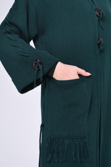 Elegancki płaszcz zapinany na 3 guziki, butelkowa zieleń