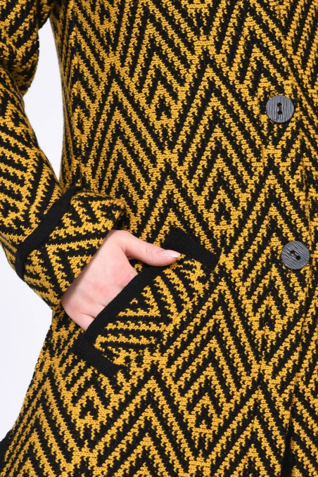 WOMENS KNIT COAT, MUSTARD