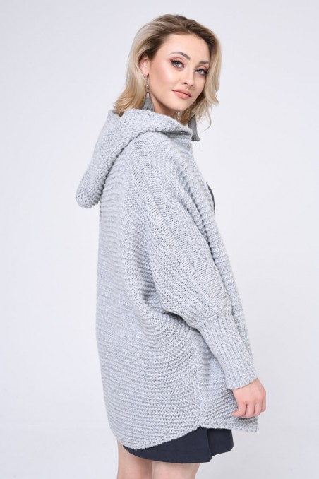 WOMENS KNIT SWEATER, LIGHT GREY