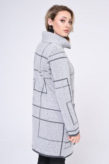 WOMENS KNIT COAT, LIGHT GREY