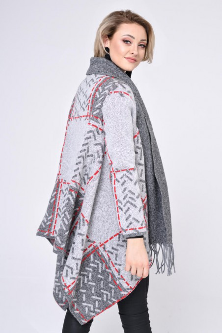 WOMENS KNIT COAT, GREY