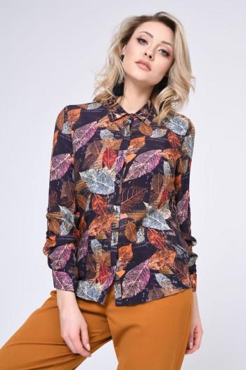 Bluzka koszulowa w liście, brąz wzorzysty