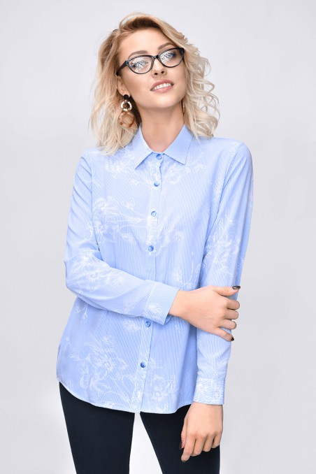 Bluzka koszulowa z kołnierzykiem, niebieski