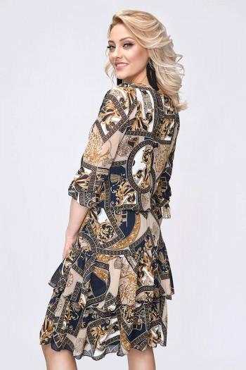 Szyfonowa sukienka, rękawy ¾, łańcuchy