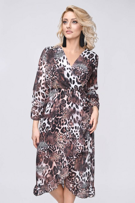 Szyfonowa sukienka, długi rękaw, pantera