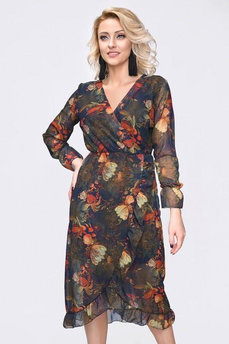 Szyfonowa sukienka, długi rękaw, liście