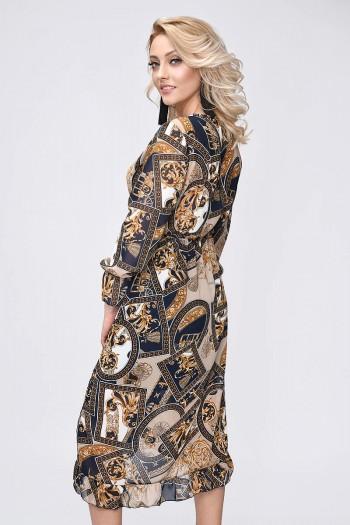 Szyfonowa sukienka, długi rękaw, łańcuchy
