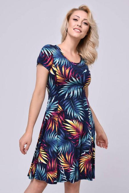 Wiskozowa sukienka, tropikalne wzory