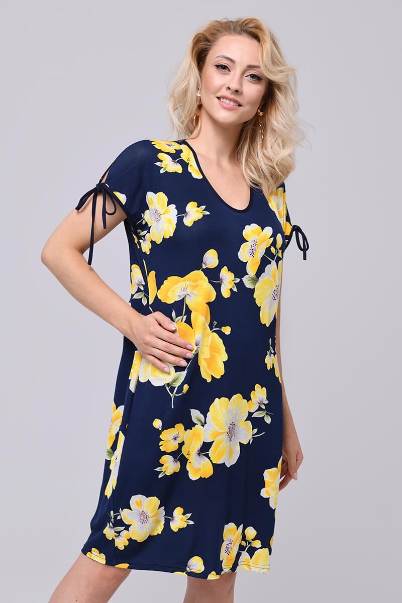 Wiskozowa sukienka, duże kwiaty