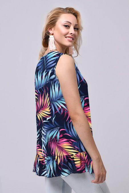Bluzka damska bez rękawów, tropikalne wzory