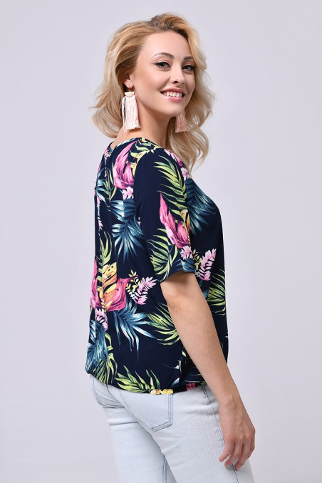 Bluzka damska z krótkim rękawem, tropikalne wzory, wiązany dekolt