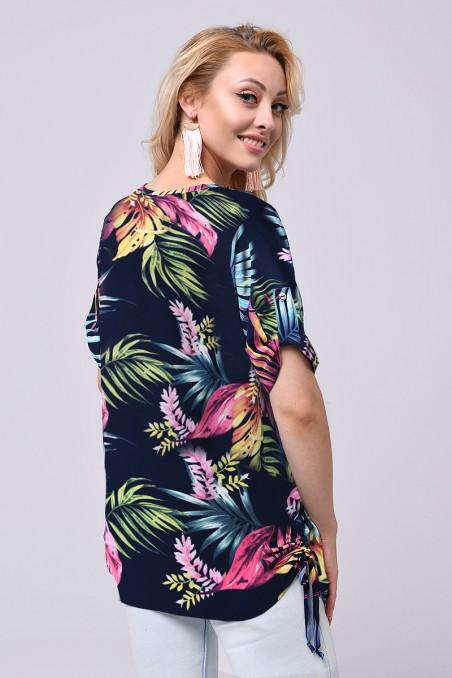 Tunika damska z krótkim rękawem, tropikalne wzory, pęknięcie z przodu przy dekolcie