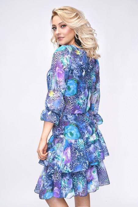 Szyfonowa sukienka, rękawy ¾, kwiaty