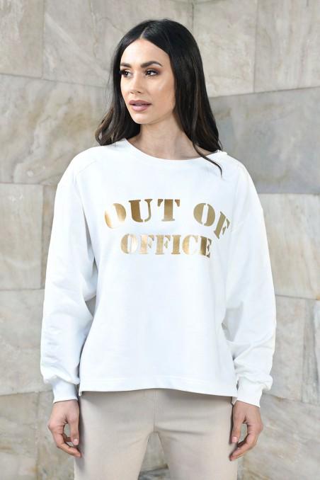 Oversizowa bluza damska z metalicznym nadrukiem Out of office