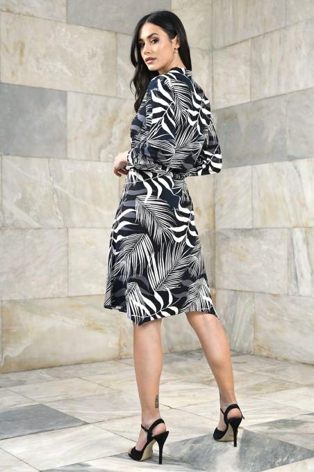 Wiskozowa sukienka z tunelem w pasie