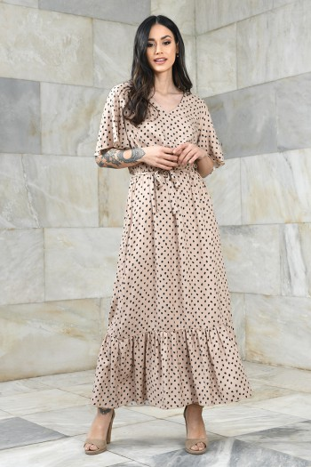 Wiskozowa sukienka maxi z gumką w pasie