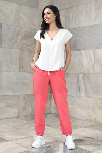 Luźne spodnie damskie chinosy z domieszką lnu