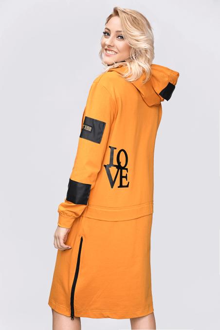 Sportowa sukienka z kapturem zapinana na zamek, musztarda
