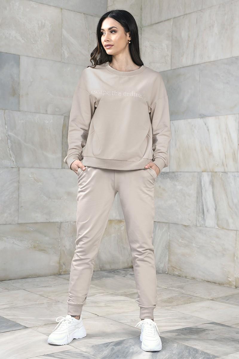 Dresowe spodnie damskie ze ściągaczami