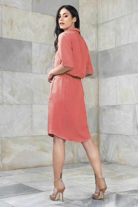 copy of Koszulowa sukienka z regulacją w pasie typu szmizjerka
